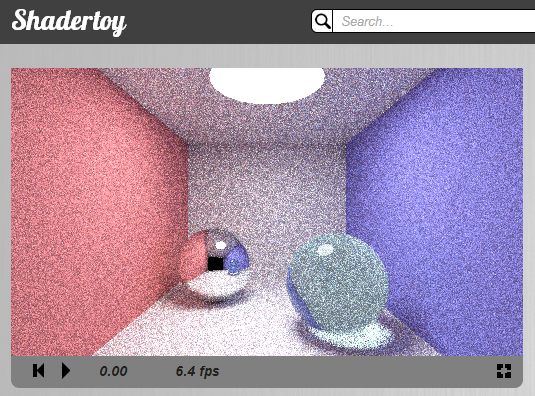 Path tracing, 40 samples per pixel, 5 bounces